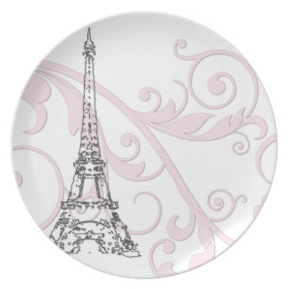Scrolls and Eiffel Tower - Pink Melamine Plate