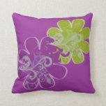 Scrolls n Flowers (purple/lime) Throw Pillows