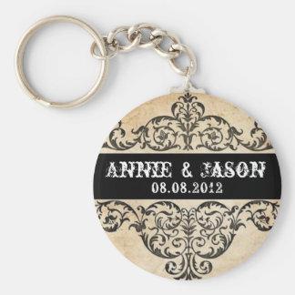 Scrolls rustic country western saloon wedding keychain