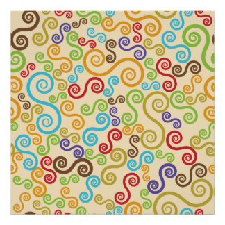 Scrolls Squiggle Abstract Poster
