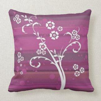 Scrolls to ground fushia flowers - pillows