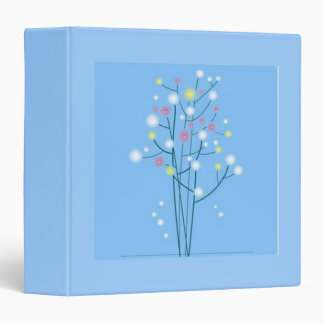 Scrolls with flowers on blue ground - 3 ring binder