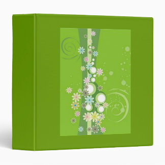Scrolls with flowers on green ground - binder