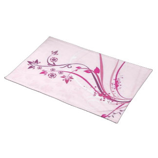 Scrolls with flowers on pink ground - cloth placemat