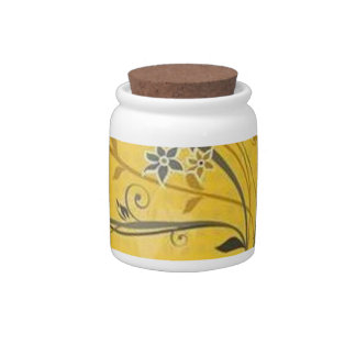 Scrolls with flowers on yellow ground - candy jars