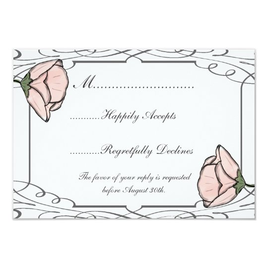 Scrollwork and Pink Flower Wedding RSVP Card