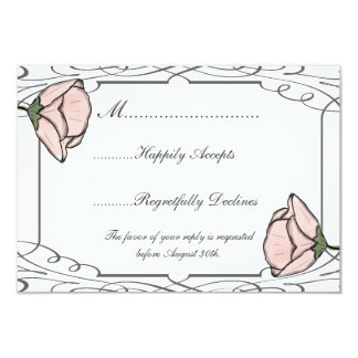 "Scrollwork and Pink Flower Wedding RSVP Card 3.5"" X 5"" Invitation Card"