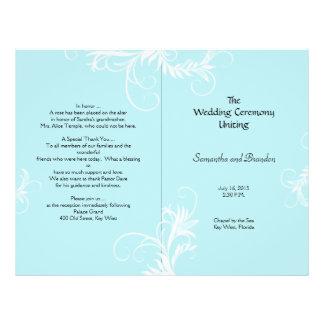 """Scrollwork azul claro doblado casando programa folleto 8.5"""" x 11"""""""
