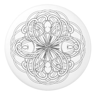 Scrollwork blanco y negro bonito pomo de cerámica