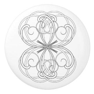 Scrollwork blanco y negro elegante pomo de cerámica