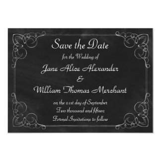 Scrollwork Frame Vintage Chalkboard Save the Date 4.5x6.25 Paper Invitation Card