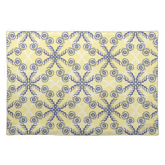 Scrollwork Pattern Blue Yellow White Placemat