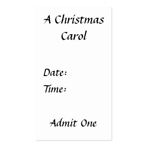 Scrooge - A Christmas Carol Ticket Double-Sided Standard Business Cards (Pack Of 100)