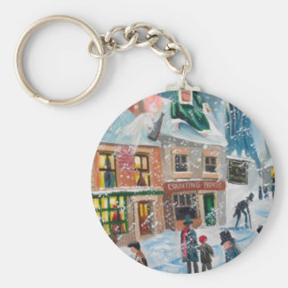 Scrooge A Christmas Carol winter snow scene ghosts Basic Round Button Keychain