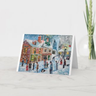 Scrooge A Christmas Carol winter snow scene ghosts Holiday Card