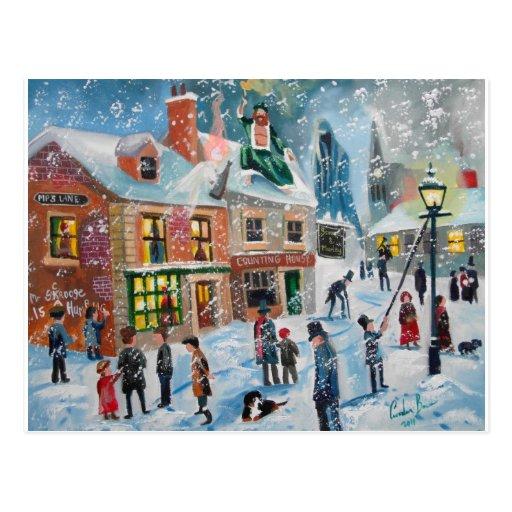 Scrooge A Christmas Carol winter snow scene ghosts Postcards