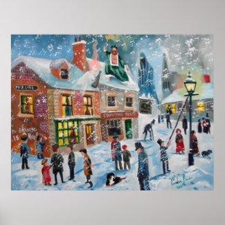 Scrooge A Christmas Carol winter snow scene ghosts Print
