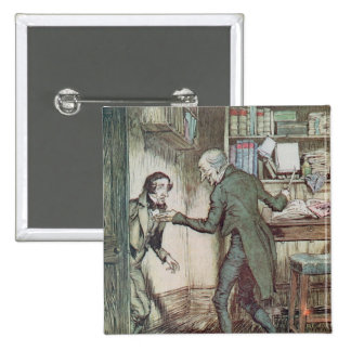 Scrooge and Bob Cratchit 2 Inch Square Button