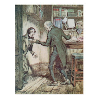 Scrooge and Bob Cratchit Postcard