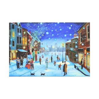 Scrooge and the ghost of Christmas present Canvas Print