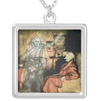 Scrooge and The Ghost of Marley Square Pendant Necklace