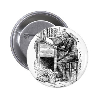 Scrooge at His Desk Button