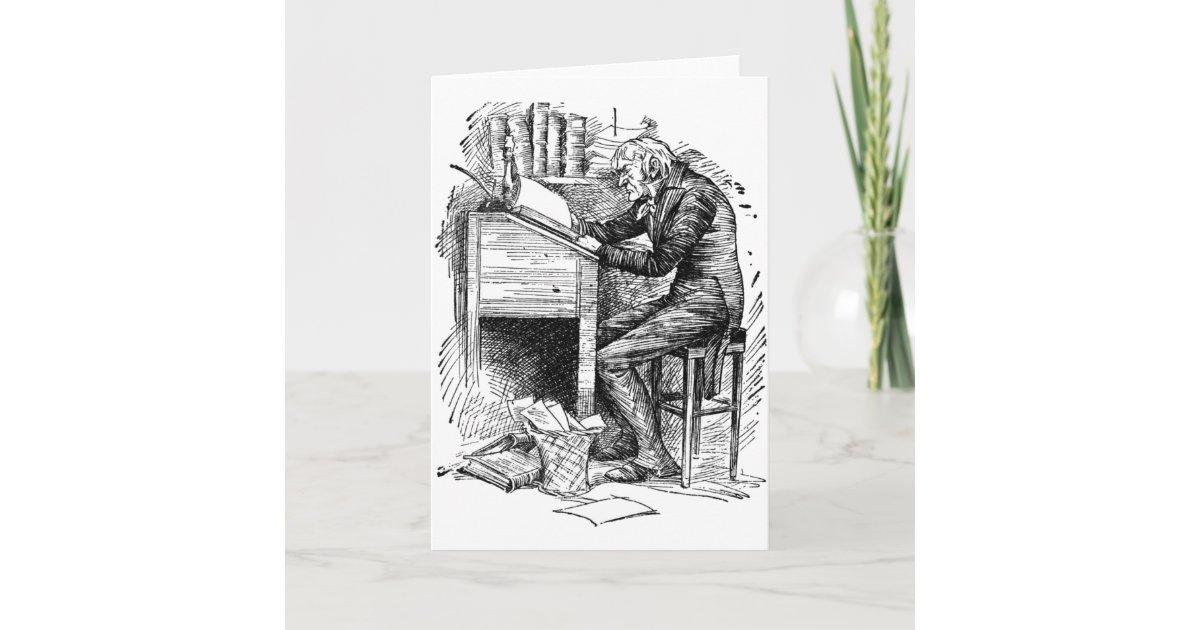 Scrooge At His Desk Card Zazzle Com