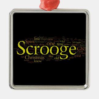 Scrooge Christmas Carol Word Art Square Metal Christmas Ornament