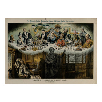 Scrooge Dreaming Queen Victoria Christmas Dinner Poster