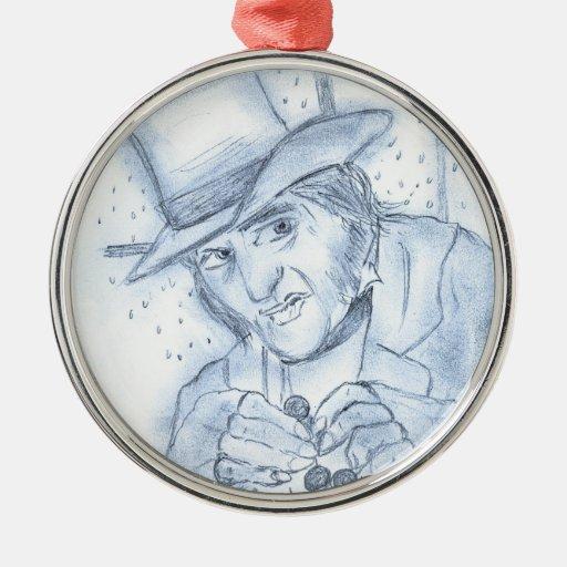 Scrooge en azul adorno de navidad