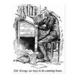 Scrooge en su escritorio (con el texto) postal