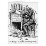 Scrooge en su escritorio (con el texto) tarjeton