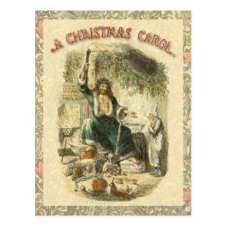 Scrooge Ghost of Christmas Present Victorian Postcard