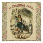 Scrooge Ghost of Christmas Present Victorian Poster