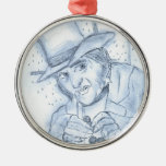 Scrooge in Blue Christmas Ornament