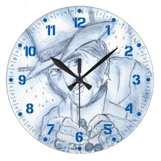 Scrooge in Blue Large Clock