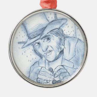 Scrooge in Blue Metal Ornament