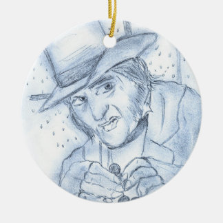 Scrooge in Blue Double-Sided Ceramic Round Christmas Ornament