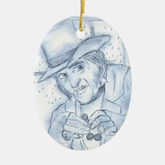 Scrooge in Blue Double-Sided Oval Ceramic Christmas Ornament
