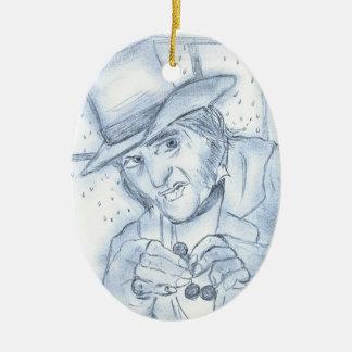 Scrooge in Blue Christmas Tree Ornaments