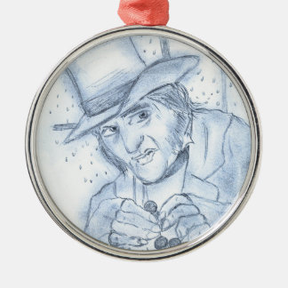 Scrooge in Blue Round Metal Christmas Ornament
