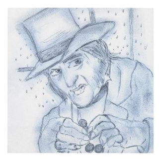 Scrooge in blue panel wall art