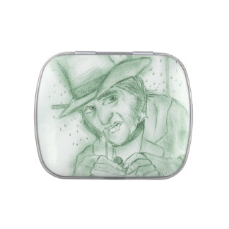 Scrooge in Green Jelly Belly Candy Tins