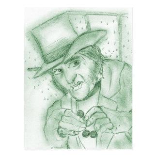 Scrooge in Green Postcard