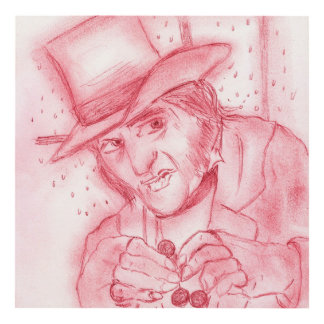 Scrooge in Red Panel Wall Art