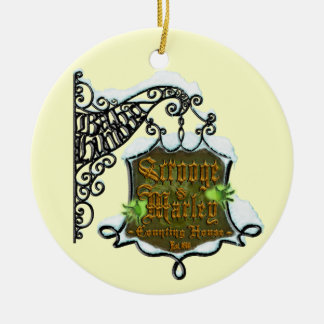 Scrooge&MarleySignScene Ceramic Ornament