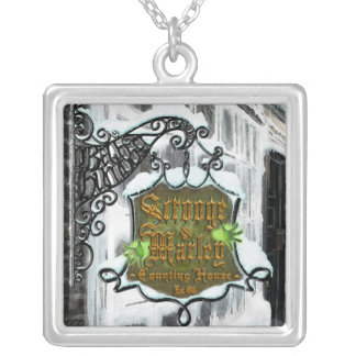Scrooge&MarleySignScene Square Pendant Necklace
