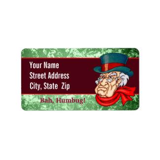 Scrooge viejo malo etiqueta de dirección