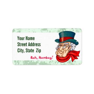 Scrooge viejo malo etiquetas de dirección