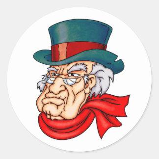 Scrooge viejo malo etiquetas redondas